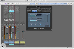 A pitch-shifter plug-in inserted on a hard-panned duplicate track can create a subtle stereo chorus effect.