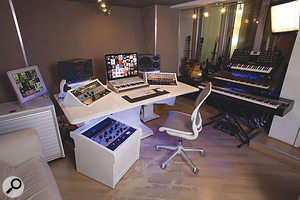 Hal Ritson's studio — in the old Stock, Aitken & Waterman studios in London — with outboard and software both in easy reach courtesy of Ritson's Zaor studio furniture.