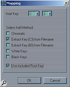 The Mapping window, used when importing your own samples.