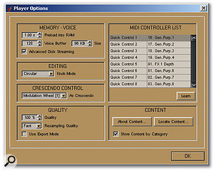 The Player Options dialogue provides options for configuring RAM use, sample quality, and MIDI controllers, with the latter including a Learn function for use with hardware controllers.
