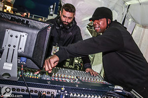 KRS-One (right) at the front-of-house Avid Venue SC48 console.