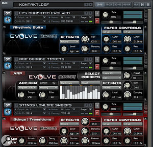 Here you can see the different sets of controls available to the various patches within Evolve, chosen to suit the specific characteristics of each family of sounds.
