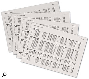 These EDL printouts are generated by the SADiE workstation, and allow the Musical Director to approve the edits for each song using a preliminary CD-R.