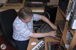 Dave had been monitoring his mixes directly from his audio interface output, but this meant that he needed to re-patch to play anything else back over his studio monitors. By rewiring the audio interface outputs to the mixer's two-track inputs instead, Hugh was able to set up much more flexible monitoring, making better use of the mixer's routing facilities.