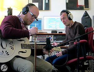 The Flight, aka Joe Henson (left) and Alexis Smith, hard at work creating unearthly sounds.