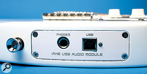 As well as the normal guitar jack socket (on the front) the iAxe includes a USB port and headphone output for monitoring the signal from your computer.