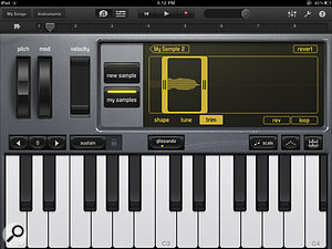 GarageBand for iPad includes a number of Touch Instruments, such as this sampling keyboard.
