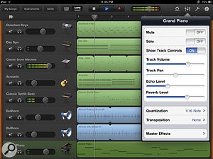 GarageBand for iPad in all its glory. Here you can see the arrange view with the Mixer popover showing additional controls for the currently selected track.