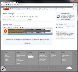 SoundCloud is a cloud‑based music distribution service that makes it possible to upload tracks directly from supporting iOS applications. Here you can see a track I uploaded from Korg's iMS20 app on the SoundCloud web site.