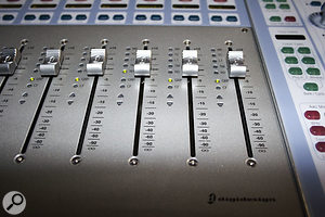 The D-Command uses slightly cheaper faders compared to the D-Control, but still offers the same functionality in terms of touch-sensitivity and motorisation. The top five LEDs by the fader indicate automation status for that channel, the two below show whether the channel is grouped or in Custom Fader mode, and the Auto Match arrow LEDs indicate whether a fader is above or below the level of existing automation.
