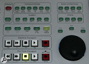 The D-Control's Transport section provides familiar transport controls for using both Pro Tools and an external machine, although the functionality for the latter isn't implemented in the current version of Pro Tools at the time of writing. The Master Record and Auto Input button in the top left of the picture enable all suitable channels in Pro Tools for either record or Input.