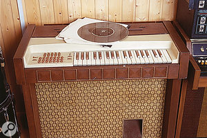 This is what all the fuss is about — well, some of the fuss anyway. A Mellotron (below left), Optigan (front) and Vako Orchestron.