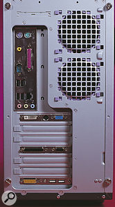 The Asus P4P800 motherboard provides no fewer than eight USB 2.0 ports. Four appear on the main external port section, with the others available on optional backplates if necessary, as at the bottom of this shot.