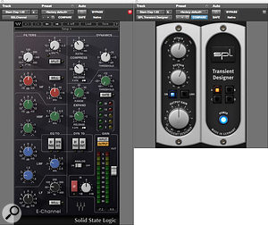 DJ Swivel's mix processing chain for the snare stem made use of his favourite Waves SSL Channel plug-in, with additional snap added by the SPL Transient Designer.