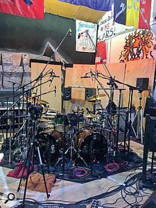Lars Ulrich's kit was extensively multi-miked, with three mics in each kick drum and multiple overhead and cymbal mics.