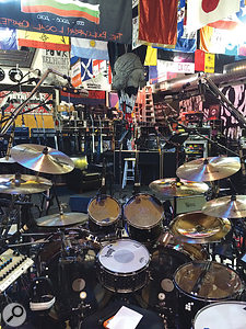 A drummer's-eye perspective of the kit. Greg Fidelman and the team put a  lot of work into optimising the acoustics of the large rehearsal space that was used to track the drums; the height of the space is apparent in this shot.