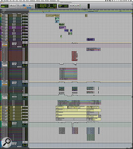 This composite screen capture shows just a few of the vocal tracks in the vast Pro Tools session for 'Another Day Of Sun'. Imagine this level of detailed editing and automation spread across 768 tracks and it's not hard to see how the post-production was a lengthy business.