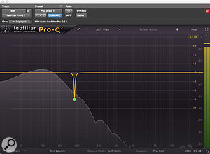 FabFilter's Pro-Q2 was used to notch out a  resonance on the 808 track.