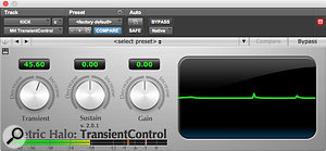 Metric Halo's Transient Control plug-in was employed to bring some snap out of the kick drum.