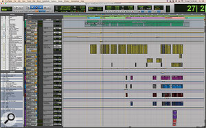The topmost section of the Pro Tools session for 'Be Our Guest' shows Frank Wolf's distinctive way of making large projects navigable. Each section has its own VCA track, with a  single audio track serving to indicate where on the timeline that section contains audio.