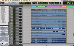 Midway down the session are the stem tracks that Frank Wolf delivers to the dubbing mixer.
