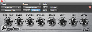 The Moog Little Phatty synth sound was obliterated with the Avid SansAmp plug-in.