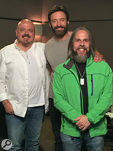 The Encore album featured a  stellar array of Hollywood talent: Hugh Jackman poses between Walter Afanasieff (left) and David Reitzas.
