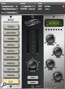 Relatively few plug-ins were used in the eventual mix, among them McDSP's 6030 Ultimate Compressor on the acoustic bass.