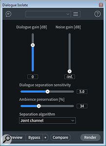 The Dialogue Isolate processor has been given anew ambience‑preservation slider.