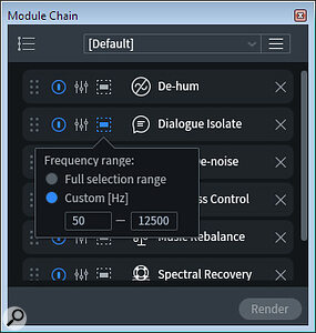 A Module Chain, showing the new frequency range options on individual modules.