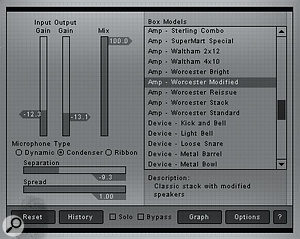 The Box Model module provides straight amp/speaker emulation as well as some more off-the-wall sound processing.
