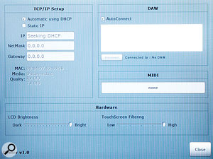 The Dexter's Settings page allows you to set up communication between your computer, DAW and Dexter, as well as altering screen brightness and customising 'screen filtering' to suit your touch.