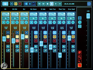 The Mixer View. The three channels on the left are soloed, as shown by their yellow background colour.  Across the top of  the screen are (from left): the Bank Browser button; the three view filter buttons that allow you to filter tracks by their current state (muted, soloed or armed); the Track Grouping buttons used to help set up Groups; the Transport controls; and the Surround View button. The Dexter can control up to 64 channels, displayed at their full size in banks of eight. The Bank Browser button gives access to a miniaturised Overview of all 64 channels, to aid in Bank navigation.