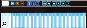 Pressing the Bank Browser button brings up this miniature overview of  faders for the Dexter's 64 channels, which will show level and relevant status colour-coding for each channel.