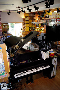 The main work area in Jeff Wayne's house; the studio is to the left of picture.