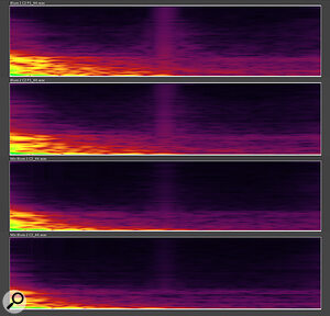 The Blues 1 cab and the Blues 2 cab IRs were captured using the same mic/amp setup (U87/tube power amp). The spectrum shows both the similarities and the differences between the IRs, which do sound distinctly different. An interesting aspect is that the short frequency burst at approximately 19ms is not a room reflection as you might expect, but rather a sonic component of the IR which was deliberately introduced to enhance the high‑end response of the Blues cabs' IRs. The Mix IR spectra illustrate the EQ differences introduced in order to allow the Blues cab IRs to sit within a mix.