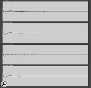 These traces illustrate the differences in response between the Cab 1 and Cab 2 IR captures, and are visual confirmation of the difference in the sound of the cabs. The differences in the traces between the original and Mix cabs illustrate the effects of the EQ on the response of the original IR.
