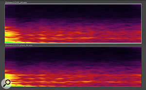 This spectrogram shows the subtly different responses of an IR and its corresponding 'phase cab'.