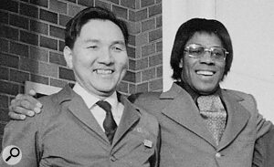 Roland Corporation founder Ikutaro Kakehashi and Don Lewis.