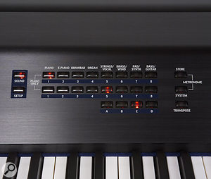 Patch-selection and management controls are to the right of the MP8's top panel, including the buttons for switching between Sound and Setup mode.