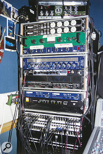 Andy's portable gear rack, including (from top) Roland RE201 Space Echo, Empirical Labs Distressor compressors (x2), the Joemeek SC1 compressor used on the 'brown piano', SPL Transient Designer dynamics processor, TL Audio EQ1 equaliser, Tech 21 Sansamp amp simulator, Alesis 3630 compressor, Sonorus DA24 D-A converters (x2) and Digidesign ADAT Bridge interface.