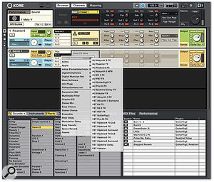 Each channel within a Kore Sound can make use of any effects available on your machine, including Kore's own.