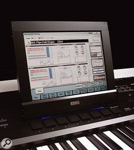 The OASYS's colour touchscreen, through which players access all the parameters relating to the operation of the synth.