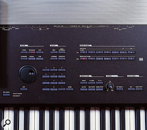 Controls on the right of the screen include numeric keypad and data-entry dial, Mode and Bank selection buttons, and the switches for starting and stopping the built-in sequencer and sampler (more on these next month).