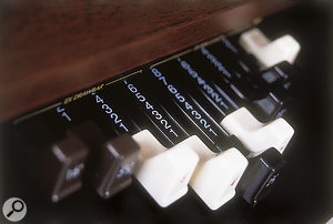 One of the BX3's two sets of traditional organ-style drawbars.