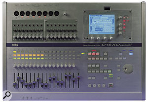 Although the D16XD, shown here, contains most of the features of its more expensive sibling, the 32-track mode is not available and the faders are shorter non-motorised ones. Also, the assignable pan control by the display of the D32XD is replaced on the D16XD with individual channel pan controls.
