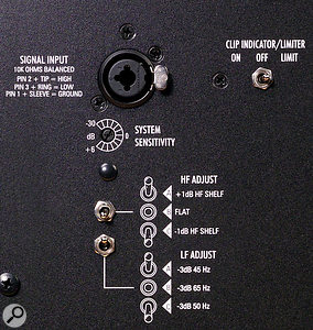 The rear panel of the V8 (shown here) carries the same input connections and controls as the V4 and V6 monitors, with the exception that the smaller models do not have switches for tailoring the frequency response.