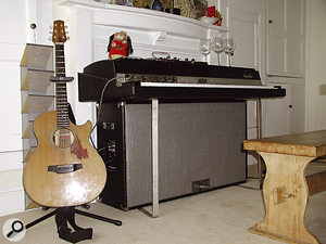 Two Fender Rhodes electric pianos. The album track 'Please' opens with a Rhodes recorded purely acoustically, using a microphone over the tines.