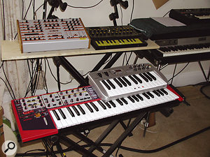 Some Lamb synths: Jomox Sunsyn and EDP Wasp (top), Clavia Nord Lead 2 and M Audio controller keyboard (bottom).