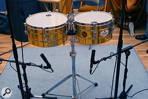 Microphone placement for the underside of the timbales.